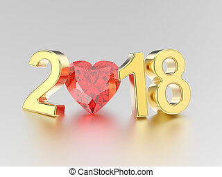 3D illustration new year 2018 gold numbers and a red diamond heart