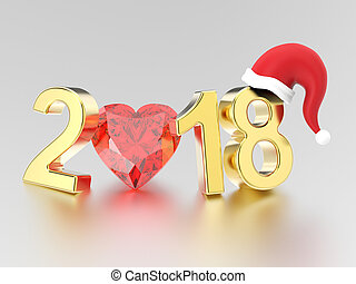 3D illustration new year 2018 gold numbers in the Christmas Santa Claus hat and a red diamond heart