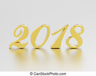 3D illustration new year 2018 gold numbers