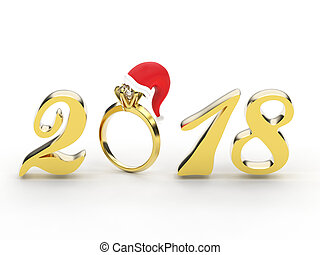 3D illustration new year 2018 gold numbers with a diamonds ring in the Christmas Santa Claus hat