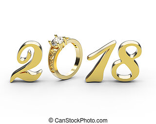 3D illustration new year 2018 gold numbers with a diamonds ring