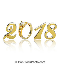 3D illustration new year 2018 gold numbers with a diamonds ring with reflection