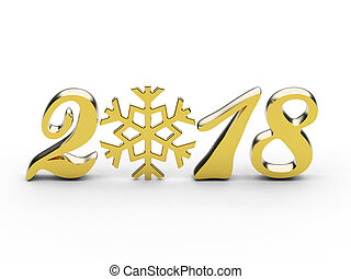 3D illustration new year 2018 gold numbers with snowflake