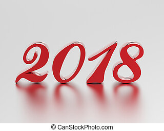 3D illustration new year 2018 red numbers