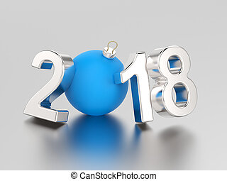 3D illustration new year 2018 silver numbers and a blue ball