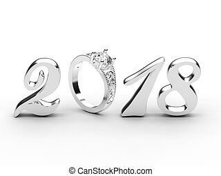 3D illustration new year 2018 silver numbers with a diamonds ring