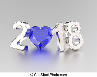 3D illustration new year 2018 white gold or silver numbers and a blue diamond heart