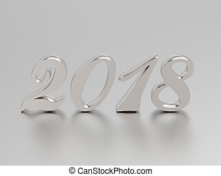 3D illustration new year 2018 white gold or silver numbers