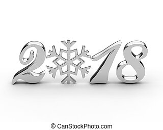 3D illustration new year 2018 white gold or silver numbers with snowflake