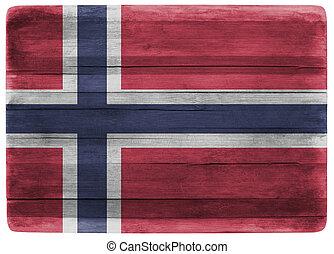 3d illustration Norway flag on wooden board