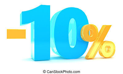 10 percent discount - 3d illustration of 10 percent discount