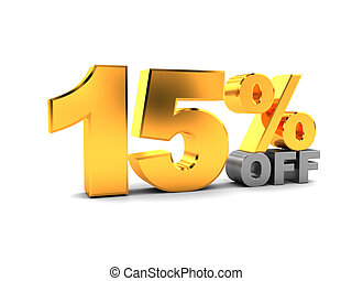 15 percent discount - 3d illustration of 15 percent discount...