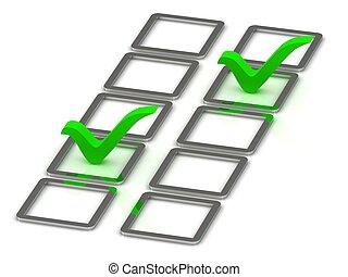 3d illustration of 2 green check mark