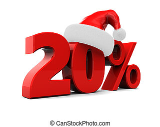 christmas discount - 3d illustration of 20 percent christmas...