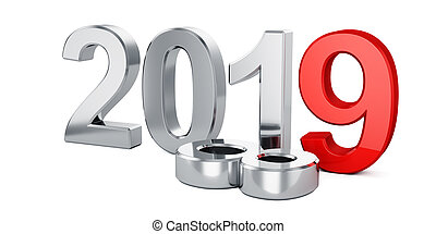2019 New Year concept isolated