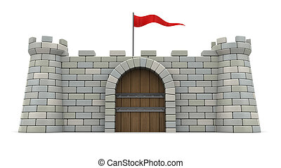 fort - 3d illustration of 3d fortress with red flag, over...