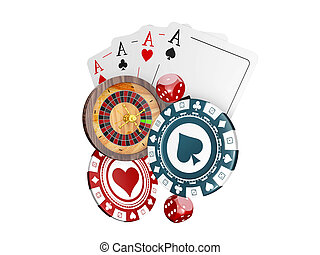 3d Illustration of a Background with Casino Elements