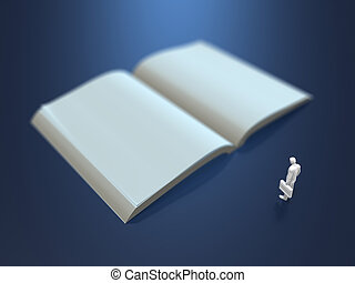 3D illustration of a blank book