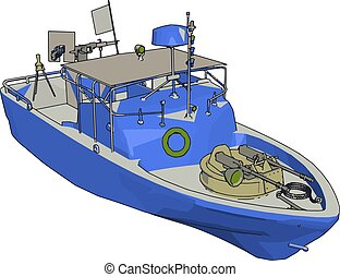 3D illustration of a blue army ship vector illustration on white background