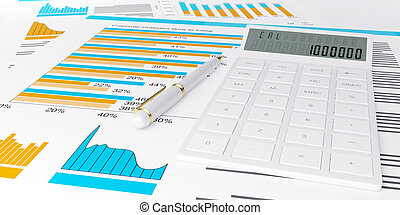 3d illustration of a business, finance credit reports and...