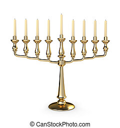 Hannukah - 3D Illustration of a Candelabrum Symbolizing...