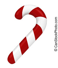 Candy Cane - 3D Illustration of a Candy Cane