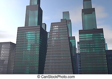 3D illustration of a city with skyscrapers