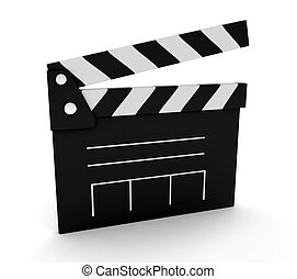 Clapper - 3D Illustration of a Clapperboard