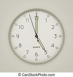 3d illustration of a clock shows 5 o'clock