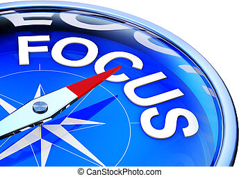 focus - 3D illustration of a compass with a focus icon