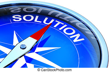 3D illustration of a compass with a solution icon