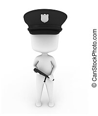 Cop - 3D Illustration of a Cop Holding a Baton