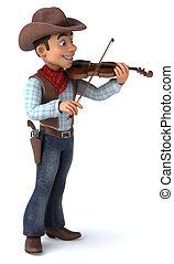 3D Illustration of a cowboy volonist