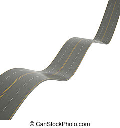 3d illustration of a curving road