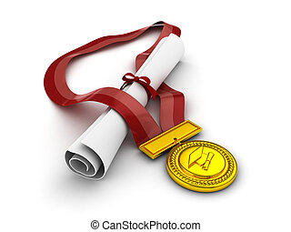 Diploma and Medal - 3D Illustration of a Diploma and Medal ...