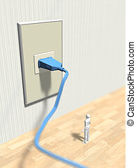 3D illustration of a doll looking at the outlet.
