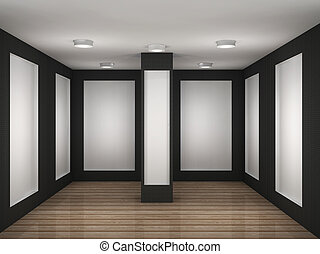 illustration of a empty gallery room with frames