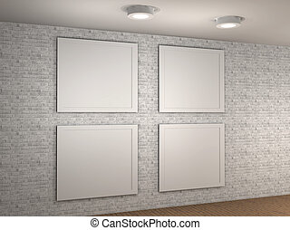Illustration of a empty museum wall with 4 frames stock illustration of a empty museum wall with 4 frames 3d sciox Images