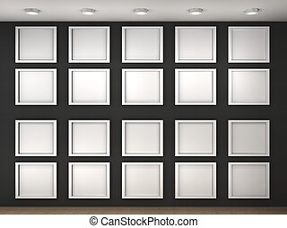 3d illustration of a empty museum wall with frames drawings illustration of a empty museum wall with frames sciox Images