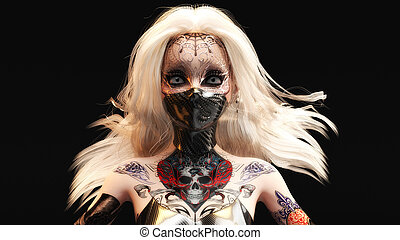 3D Illustration of a female fantasy face with mask