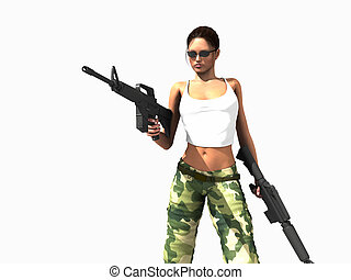 female soldier - 3d illustration of a female soldier holding...