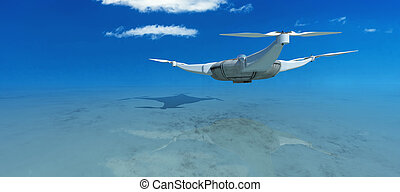 illustration of a flying drone - 3d illustration of a flying...