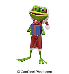 3D Illustration of a Frog with a Gift