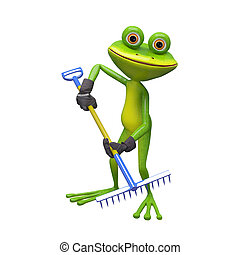 3D Illustration of a Frog with a Rake
