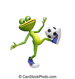 3D Illustration of a Frog with a Soccer Ball