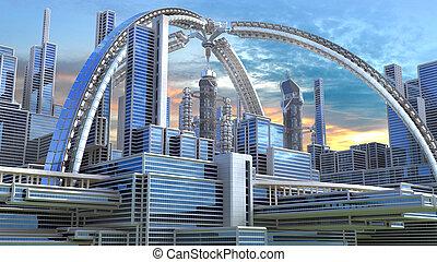 3D Illustration of a futuristic city