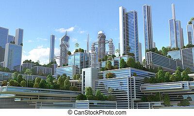 3D illustration of a futuristic green city.