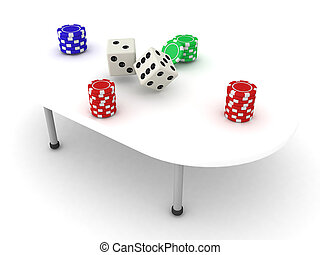 3D Illustration of a gambling table with stacks of chips and dices