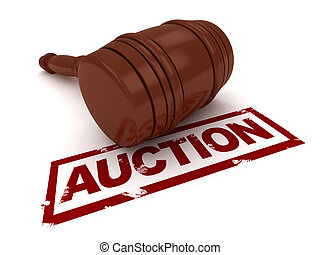Auction - 3D Illustration of a Gavel Placed Near the Word...