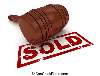 Sold - 3D Illustration of a Gavel with Sold Under It